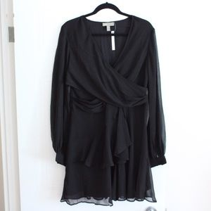 Black Short Wrap Dress